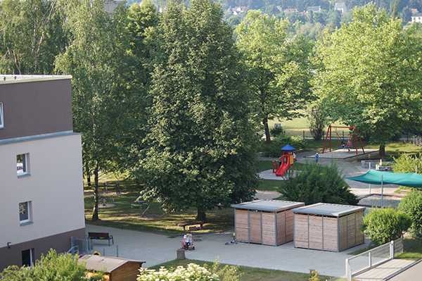 Blick in den Garten der Kita
